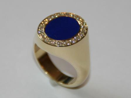 Lapislazuli Ring (750er Gold) mit Brillanten