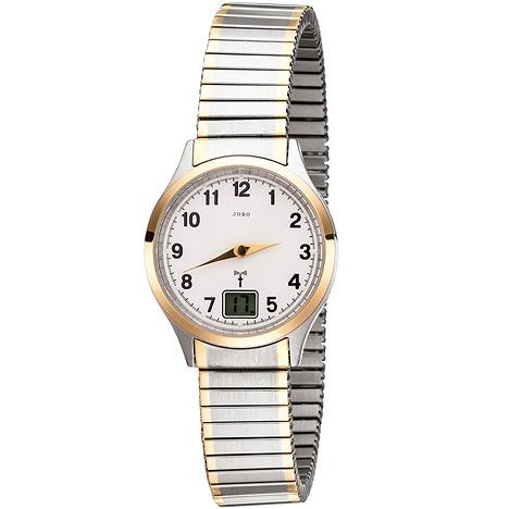 jobo damen armbanduhr funk funkuhr edelstahl bicolor vergoldet flexband datum. Black Bedroom Furniture Sets. Home Design Ideas