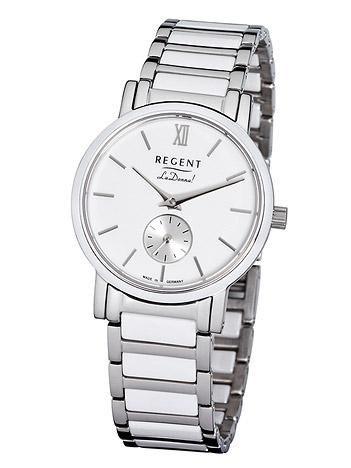 Uhren für Frauen - Regent Armbanduhr Damen Edelstahl Keramik Metallband  - Onlineshop Goettgen