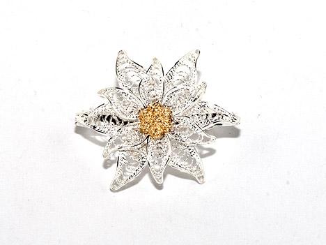 Broschen für Frauen - Costume Glamour Brosche filigran Silber 800 Edelweiß  - Onlineshop Goettgen