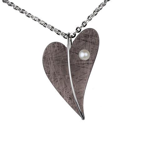 Ernstes Design Anhänger Herz SW Perle 8 mm Altbronze beschichtet   Schmuck > Halsketten > Herzketten   Silber - Mehrfarbigen - Multicolor - Gold - Weiß   Ernstes Design