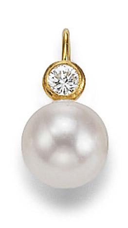 Ohrringe für Frauen - SIGO Ohrringe 585 Gelbgold Diamant Zuchtperle 6,5 7mm  - Onlineshop Goettgen