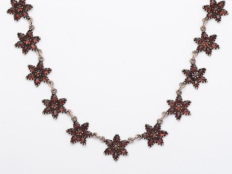 Costume Glamour Collier Granat 925 | Schmuck > Halsketten > Colliers | Silber - Rot - Dunkelrot | Costume Glamour