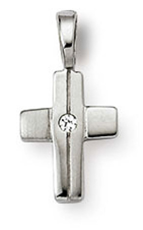 SIGO Anhänger Kreuz 925 Silber Zirkonia weiss