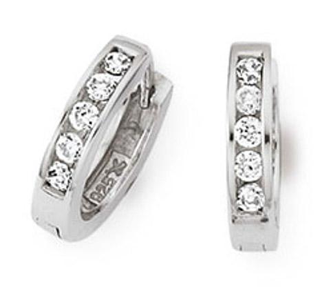 Ohrringe für Frauen - SIGO Creolen 925 Silber Zirkonia weiss  - Onlineshop Goettgen
