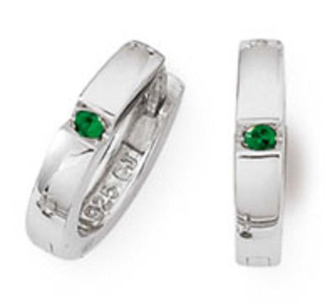 Ohrringe für Frauen - SIGO Creolen 925 Silber Zirkonia Grün  - Onlineshop Goettgen