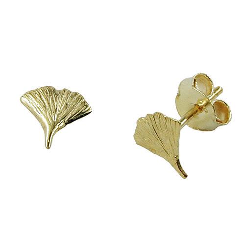 Ohrringe für Frauen - SIGO Ohrstecker 7mm Ginkgoblatt glänzend Gold 375  - Onlineshop Goettgen