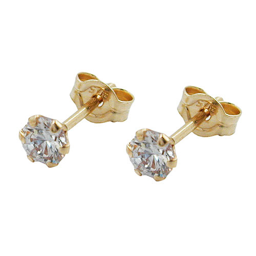 Ohrringe für Frauen - SIGO Ohrstecker, 3mm mit Zirkonia, Gold 375  - Onlineshop Goettgen
