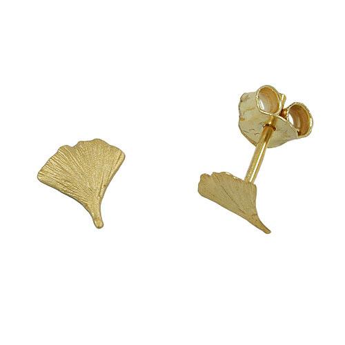 Ohrringe für Frauen - SIGO Ohrstecker, 7mm Ginkgoblatt matt Gold 375  - Onlineshop Goettgen