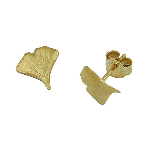 Ohrringe für Frauen - SIGO Ohrstecker, 9mm Ginkgoblatt matt Gold 375  - Onlineshop Goettgen