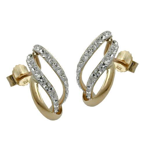 Ohrringe für Frauen - SIGO Ohrstecker, HalbCreolen, Zirkonia, Gold 375  - Onlineshop Goettgen