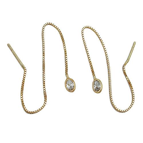 Ohrringe für Frauen - SIGO Ohrringe Durchzieher, Kette m. Zirkonia Gold 375  - Onlineshop Goettgen