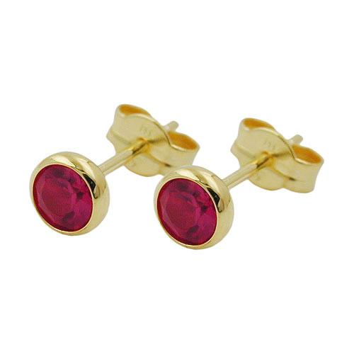 Ohrringe für Frauen - SIGO Ohrstecker, synthet. Rubin 4mm, Gold 333  - Onlineshop Goettgen