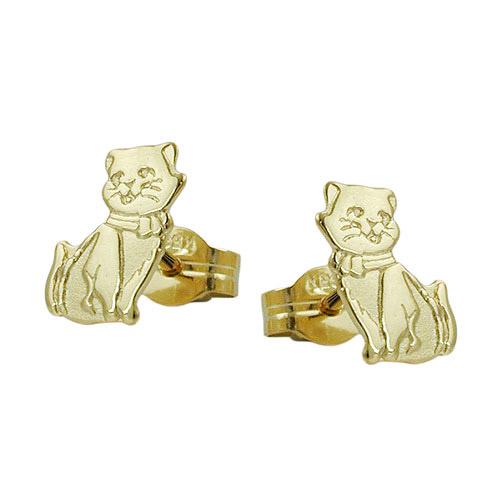 Ohrringe für Frauen - SIGO Ohrstecker, Katzen teil mattiert Gold 333  - Onlineshop Goettgen