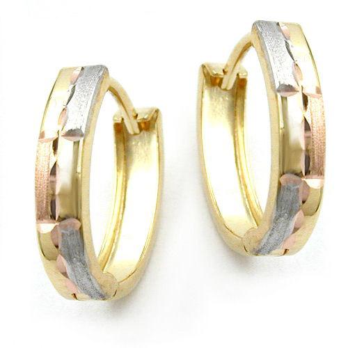 SIGO Creolen, tricolor, diamantiert, Gold 375 | Schmuck > Ohrschmuck & Ohrringe > Creolen | Goldfarben - Gold | SIGO