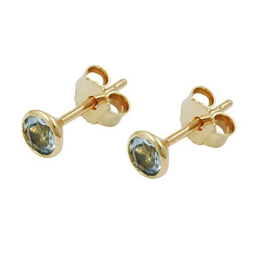 Ohrringe für Frauen - SIGO Ohrstecker 4mm synthetischer Aquamarin Gold 333  - Onlineshop Goettgen