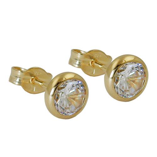 Ohrringe für Frauen - SIGO Ohrstecker ca. 6mm Zirkonia weiss Gold 333  - Onlineshop Goettgen