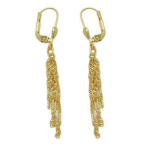 Ohrringe für Frauen - SIGO Ohrringe Brisur mit Singapur Ketten, Gold 333  - Onlineshop Goettgen
