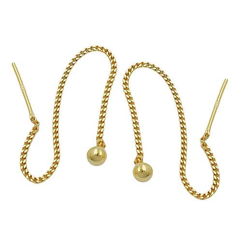 SIGO Ohrringe Durchzieher, Kette mit Kugel, Gold 333