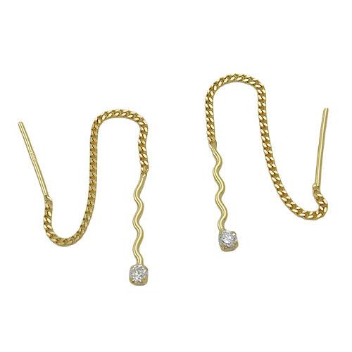 Ohrringe für Frauen - SIGO Ohrringe Durchzieher Welle mit Zirkonia, Gold 333  - Onlineshop Goettgen