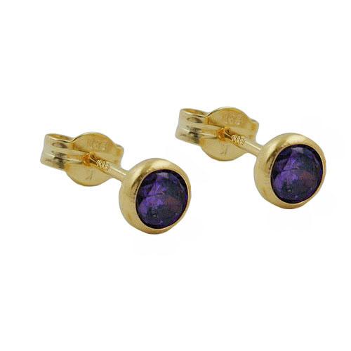 Ohrringe für Frauen - SIGO Ohrstecker 4mm Zirkonia amethyst gefärbt Gold 333  - Onlineshop Goettgen