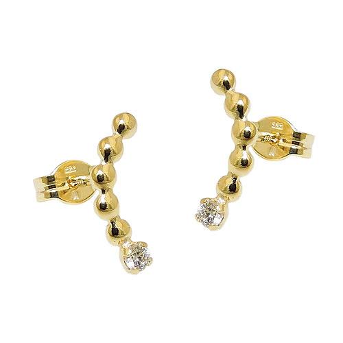 Ohrringe für Frauen - SIGO Ohrstecker gebogen Zirkonia weiß, Gold 333  - Onlineshop Goettgen