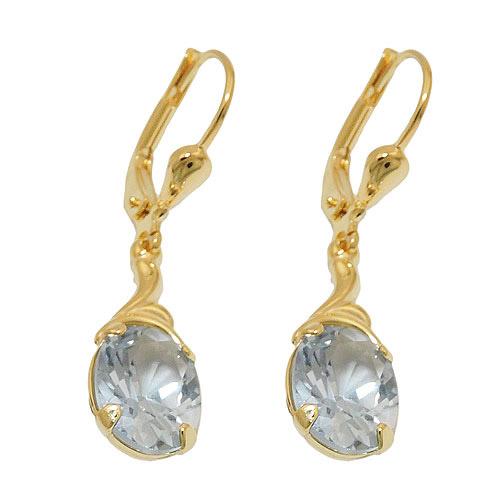 Ohrringe für Frauen - SIGO Ohrringe Brisur, synth. Aquamarin, Gold 333  - Onlineshop Goettgen