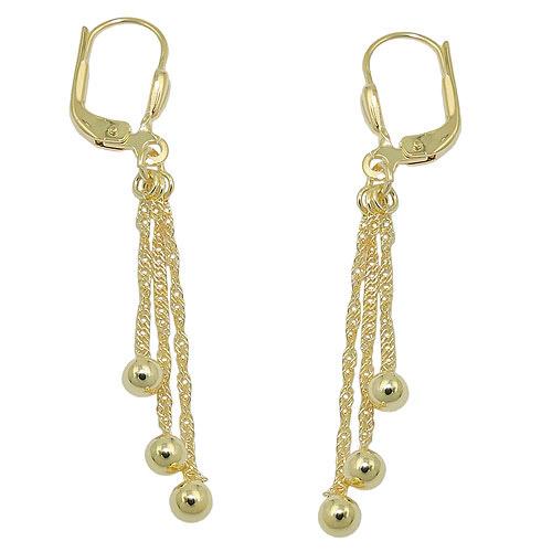 Ohrringe für Frauen - SIGO Ohrringe Brisur, 3 Kettchen mit Kugel, Gold 333  - Onlineshop Goettgen