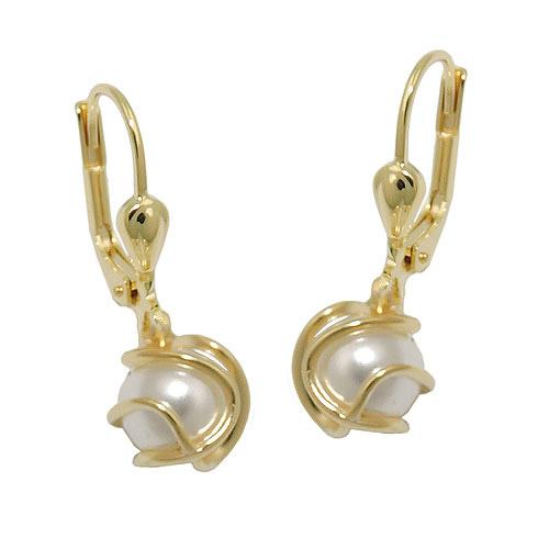 Ohrringe für Frauen - SIGO Ohrringe Brisur, Perle Imitat, Gold 333  - Onlineshop Goettgen