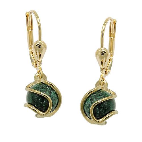 Ohrringe für Frauen - SIGO Ohrringe Brisur, Perle Malachit, Gold 333  - Onlineshop Goettgen