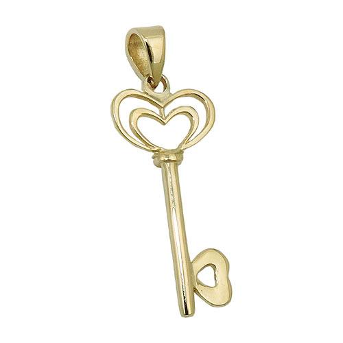 SIGO Anhänger, Herz Schlüssel, Gold 375 | Schmuck > Halsketten > Herzketten | Gold | SIGO