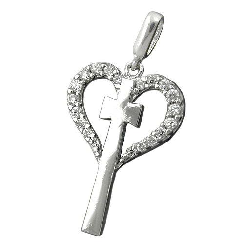 SIGO Anhänger, Kreuz im Herz, Silber 925 | Schmuck > Halsketten > Herzketten | Silber | SIGO