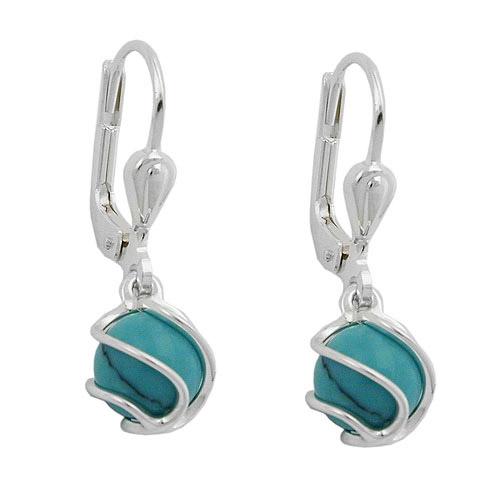 Ohrringe für Frauen - SIGO Ohrringe Brisur, synthetischer Türkis, Silber 925  - Onlineshop Goettgen