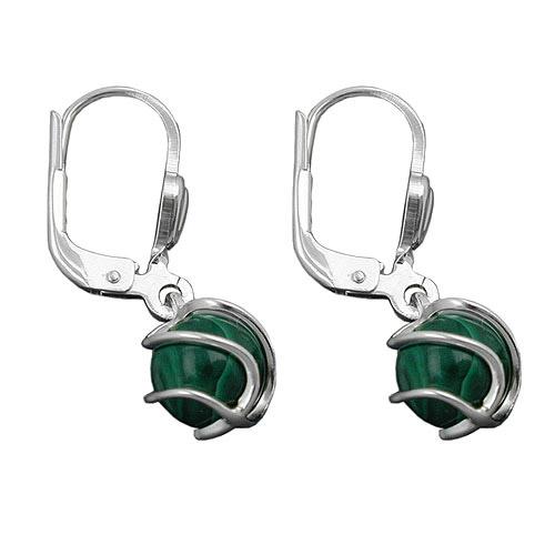 Ohrringe für Frauen - SIGO Ohrringe Brisur, Perle Malachit 6mm, Silber 925  - Onlineshop Goettgen