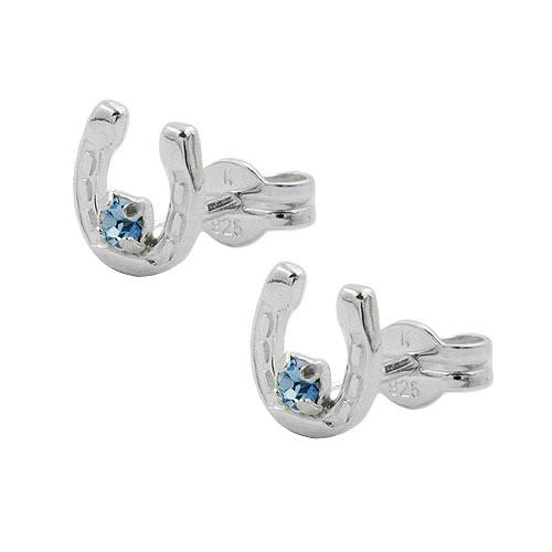 Ohrringe für Frauen - SIGO Ohrstecker, Hufeisen Glas blau Silber 925  - Onlineshop Goettgen