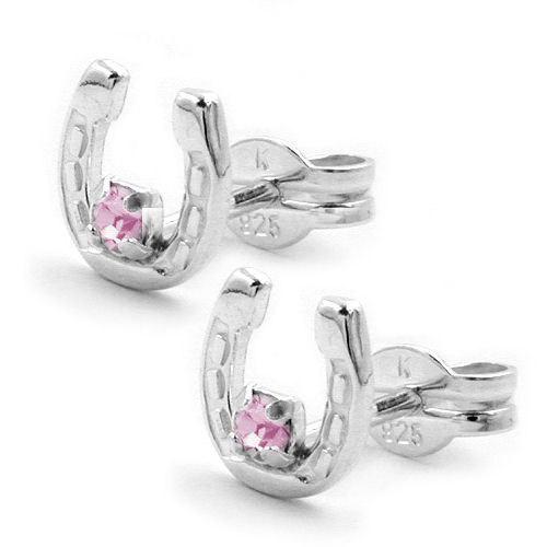 Ohrringe für Frauen - SIGO Ohrstecker, Hufeisen Glas pink, Silber 925  - Onlineshop Goettgen