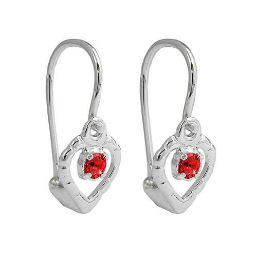 Ohrringe für Frauen - SIGO Ohrringe Brisur, Herz Glasstein rot, Silber 925  - Onlineshop Goettgen