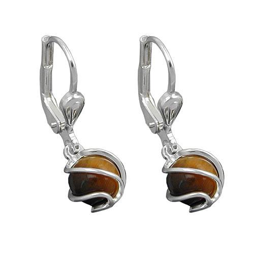 Ohrringe für Frauen - SIGO Ohrringe Brisur, Perle Tigerauge 6mm, Silber 925  - Onlineshop Goettgen