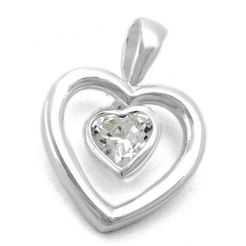 SIGO Anhänger, Herz mit Zirkonia, Silber 925