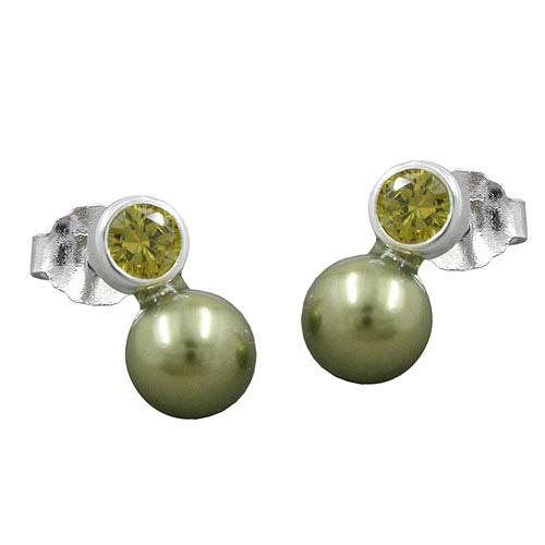 sigo ohrstecker zirkonia oliv perle imitat 925 schmuck u uhren onlineshop. Black Bedroom Furniture Sets. Home Design Ideas