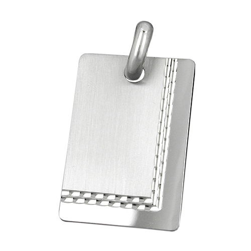 SIGO Anhänger, Gravurplatte matt diamantiert, Silber 925
