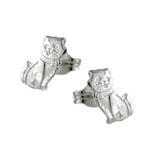 Ohrringe für Frauen - SIGO Ohrstecker, Katze matt glänzend, Silber 925  - Onlineshop Goettgen