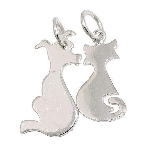 SIGO Anhänger, Hund und Katze, Silber 925