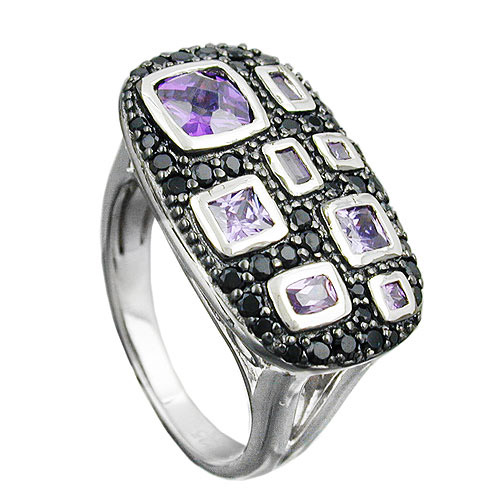 SIGO Ring, Zirkonia lila-schwarz, Silber 925