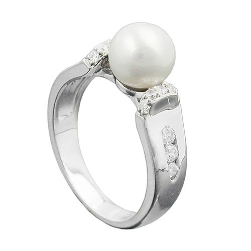 SIGO Ring, Zuchtperle, Zirkonia, Silber 925