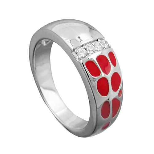 SIGO Ring, rot, mit Zirkonia, Silber 925