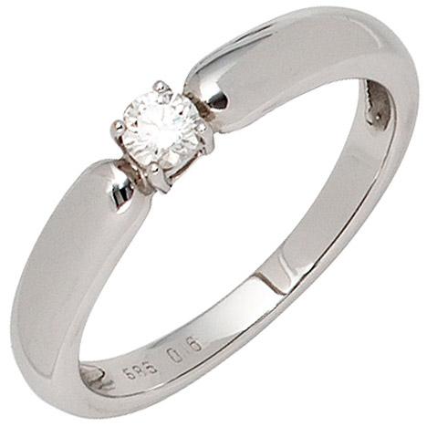 SIGO Damen Ring 585 Gold Weißgold 1 Diamant Brillant 0,16ct. Diamantring Weißgoldring | Schmuck > Ringe > Diamantringe | Weißgold - Silber - Gold - Weiß | SIGO