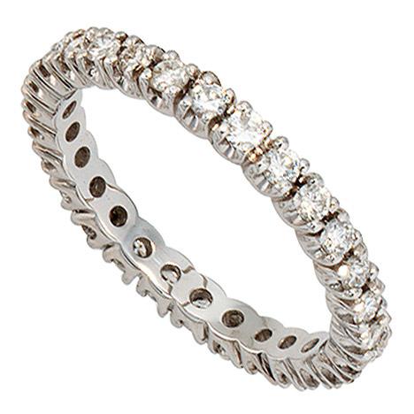 SIGO Memory Ring 585 Gold Weißgold mit Diamanten Brillanten rundum 1 ct. Memoryring