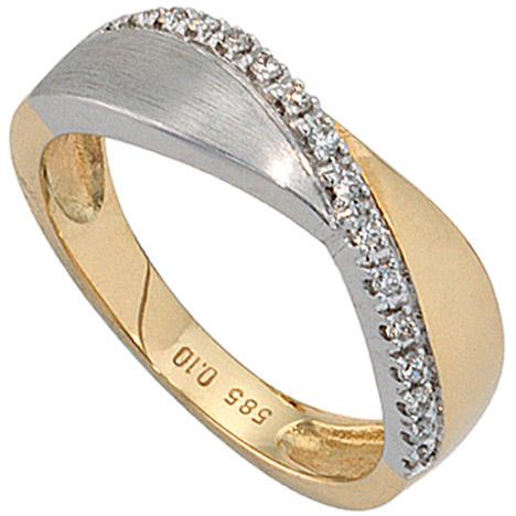 SIGO Damen Ring 585 Gold Gelbgold Weißgold bicolor matt 16 Diamanten Brillanten