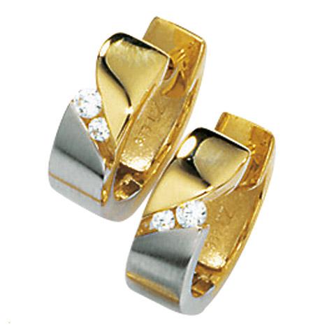 Ohrringe für Frauen - SIGO Creolen 333 Gold Gelbgold bicolor mattiert 4 Zirkonia Ohrringe Goldcreolen  - Onlineshop Goettgen